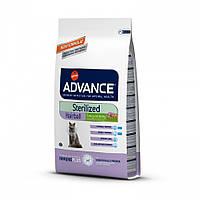 Корм Advance ЭДВАНС Sterilized Hairball для домашних стерелизованных котов с индейкой на развес 1 кг