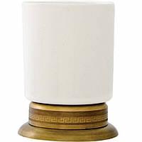 Керамический стаканчик для зубных щеток на бронзовой подставке Kugu Versace Freestand 250A