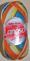 Пряжа для ручного вязания , детская. Lanoso Baby wool print 6100