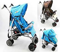 Коляска прогулочная JOY Q 2005 2 цвета, голубой и коричневый, широкий козырек, футкавер, d колес - 15см
