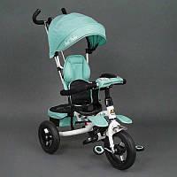Велосипед 3-х колёсный 6699 Best Trike БИРЮЗОВЫЙ, надувные колёса, поворотное сидение, фара, ключ зажигания