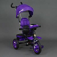 Велосипед 3-х колёсный 6699 Best Trike ФИОЛЕТОВЫЙ ЧЕРНАЯ РАМА, надувные колёса, поворотное сидение, фара, ключ зажигания