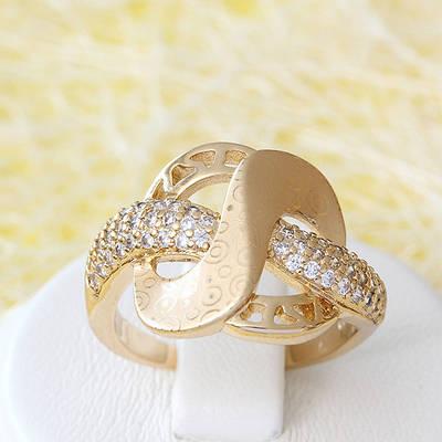 002-2534 - Позолоченное кольцо с прозрачными фианитами, 17 р.
