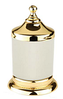Золотая баночка для ватных дисков белая керамика Kugu Versace Freestand 240G
