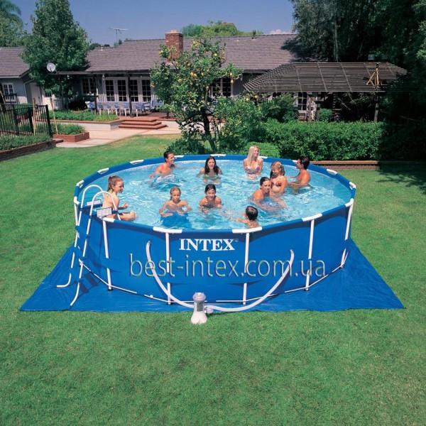 Intex 56949 (457х107 см.) + насос-фильтр, лестница, тент, подстилка, набор для чистки. Каркасный бассейн Metal