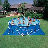 Intex 56949 (457х107 см.) + насос-фильтр, лестница, тент, подстилка, набор для чистки. Каркасный бассейн Metal, фото 1