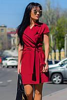 """Платье с поясом""""Фортуна"""", бордовый"""