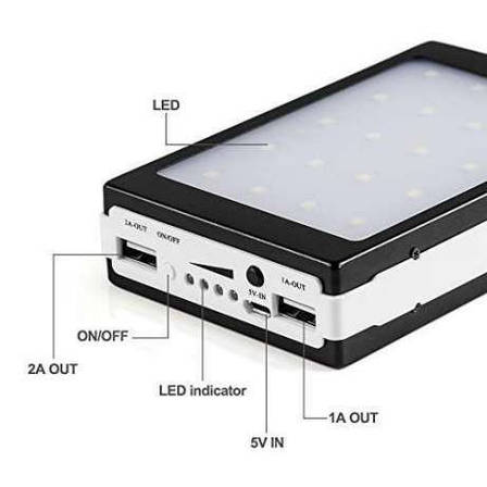Внешний аккумулятор c LED Power bank L5 solar 25000 mAh(цвета в ассортименте), фото 2