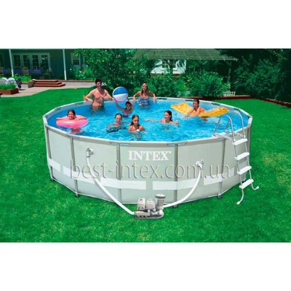 Intex 28322 (488х122 см.) + Фильтрующий насос, лестница, тент, подстилка. Круглый каркасный бассейн Ultra