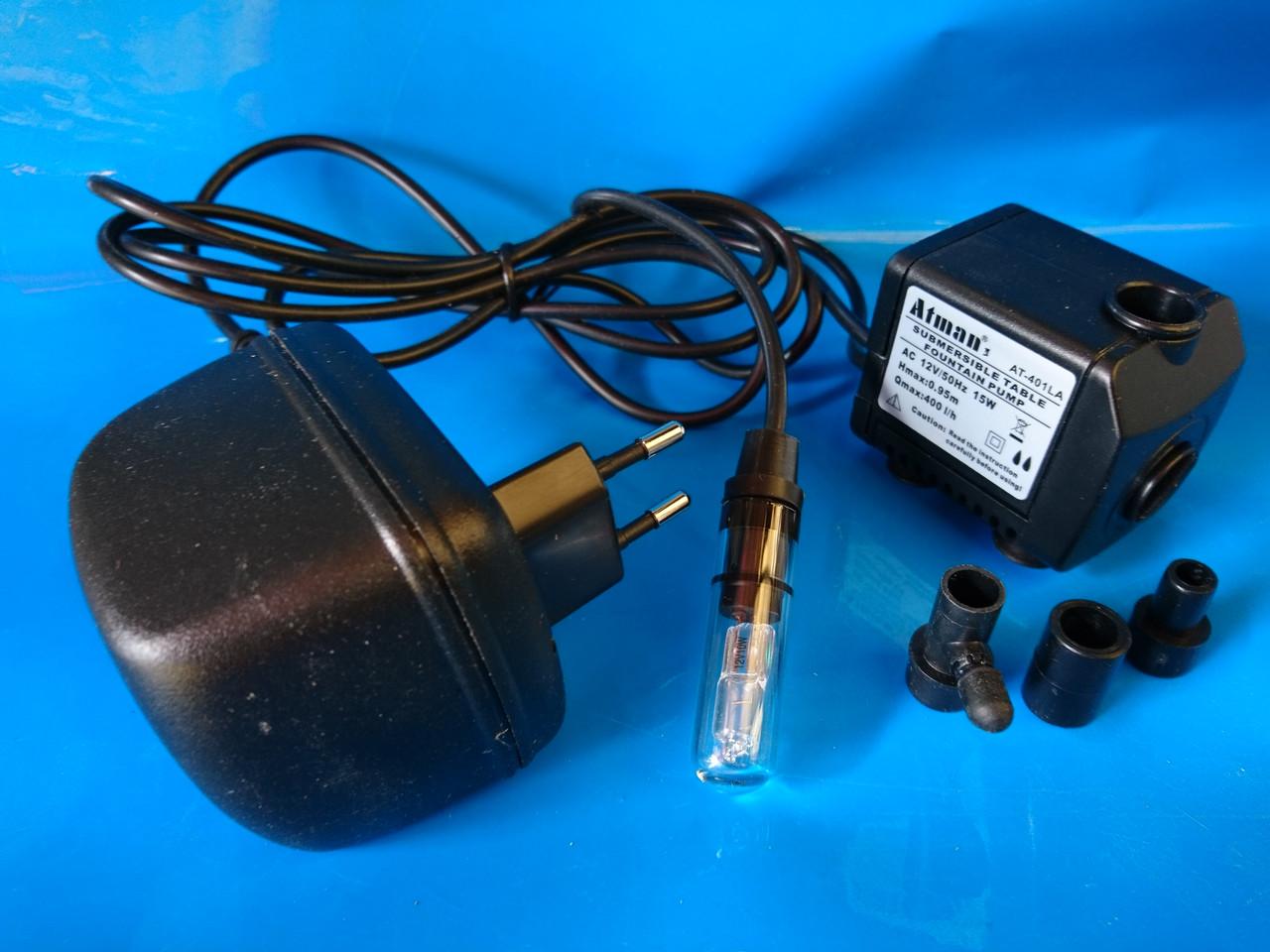 Фонтанный насос Atman 401 LA, 400l/h с подсветкой белого цвета