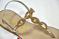 Босоножки-вьетнамки с золотыми камнями, фото 1
