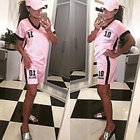 Женский летний молодежный атласный спортивный костюм-двойка футболка+шорты   +цвета