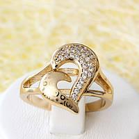 002-2543 - Позолоченное кольцо с прозрачными фианитами, 17, 18.5 р.