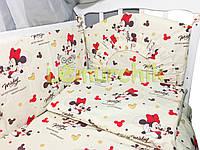 """Постельный набор в детскую кроватку (8 предметов) Premium """"Микки Маус"""""""
