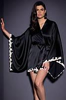Черный атласный халат на запах с белым кружевом