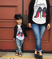 Футболка хлопок+ качественный накат  мама и дочка