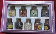 Ассорти из минералов,кристаллы 9 шт./компл. Мини Бутылочки с деревянной пробкой,амулет,оберег