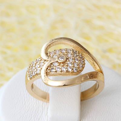 002-2550 - Позолоченное кольцо с прозрачными фианитами, 16, 17 р.