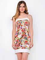 Летнее полуприталенное женское платье на бретельках с карманами, с цветочным принтом 90115/1