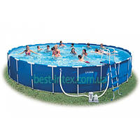 Intex 28262 (732х132 см.) + Насос-фильтр, лестница, тент, подстилка. Каркасный бассейн Metal Frame Pool
