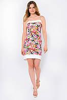 Летнее полуприталенное женское платье на бретельках с карманами, с цветочным принтом 90115/3