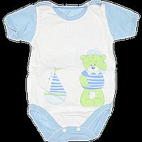 Детский боди футболка р 62 1-3 месяца короткий рукав ткань КУЛИР 100% тонкий хлопок ТМ Незабудка 3078 Голубой
