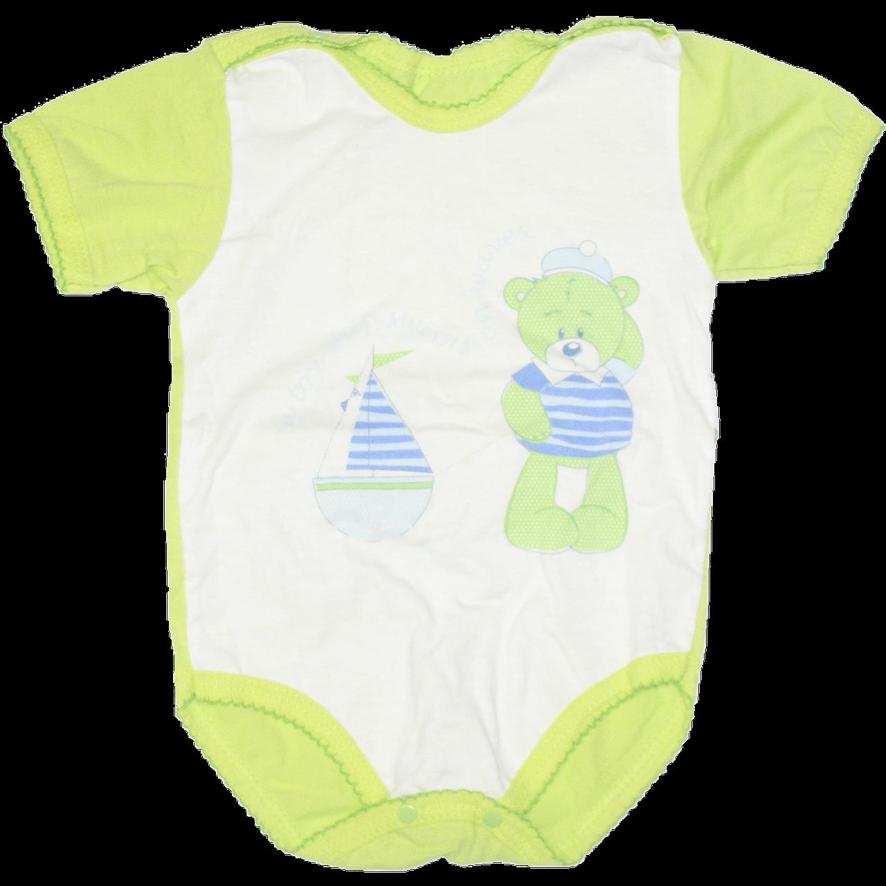 Детский боди-футболка р. 62 ткань КУЛИР 100% тонкий хлопок ТМ Незабудка 3078 Зеленый