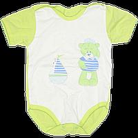 Детский боди-футболка р. 62 ткань КУЛИР 100% тонкий хлопок ТМ Незабудка 3078 Зеленый, фото 1