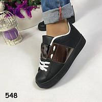 Криперы черные на черной платформе + вставка эко-лак , женская обувь, кроссовки