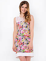 Удобное легкое полуприталенное женское платье с цветочным принтом и вставкой из гипюра 90113/2, фото 1