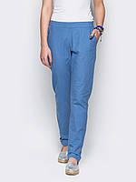 Удобные женские летние брюки прямого силуэта с талией на резинке лен р.44,46,48