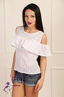 Блузка женская из прошвы белая 061