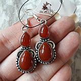 Серьги с сердоликом. Серьги с натуральным камнем сердолик в серебре, фото 3