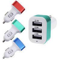 Автозарядка 3 USB smart mini