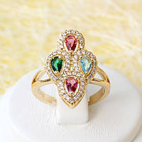 002-2568 - Позолоченное кольцо с цветными и прозрачными фианитами, регулируется от 17 до 18