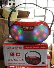 Портативная Bluetooth колонка WS-1803B 2*3W светомузыка (microSD, USB, FM, HF), фото 3