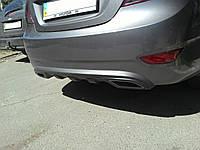 Накладка заднего бампера, диффузор Hyundai Accent \ Solaris 2010-2014 г.в.