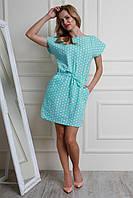 Женское летнее платье мятного цвета в горошек