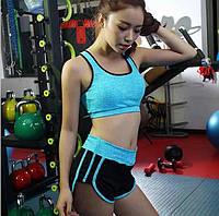 Комплект спортивный меланж (топ А/В+шорты) , фото 1