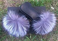 Стильные женские шлепанцы (натуральная кожа внутри + натуральный мех чернобурки) РАЗНЫЕ ЦВЕТА!