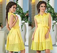 """Желтое летнее платье из прошвы """"Кира"""""""