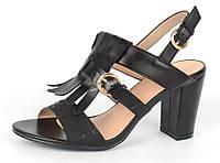 """Босоножки женские черные на широком каблуке """"Bershka"""" с бахромой, Черный, 40"""