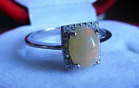 """Хорошенькое кольцо с натуральным  опалом """"Квадрат"""", размер 17,9 , от студии LadyStyle.Biz"""