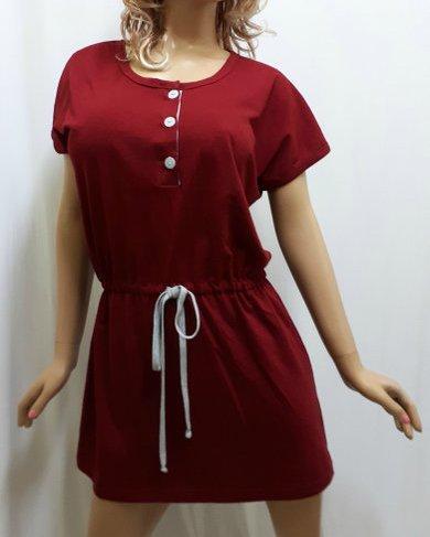 Туника для дома, ночная рубашка, сорочка женская под пояс, размеры от 48 до 52