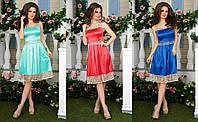 Женское платье ткань сатин украшен гипюром
