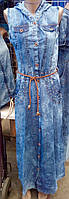Стильное длинное джинсовое платье с капюшоном и карманами батал