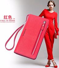 Женский  кошелек  клатч красный