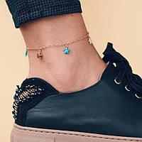 Золотой женский браслет на ногу с звёздочками