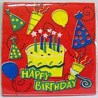 """Салфетки универсальные праздничные красные с тортиком """"Happy Birthday"""""""