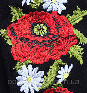 Українська вишита футболка Маки чорного кольору, фото 2